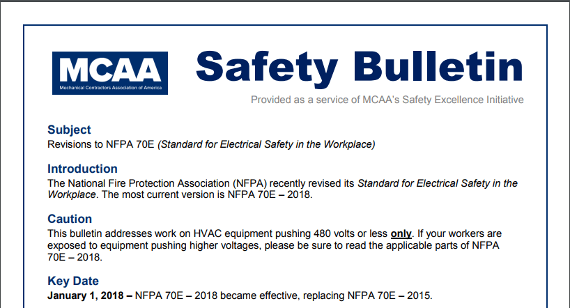 New MCAA Safety Bulletin Covers Key Changes to NFPA 70E (Electrical Safety in the Workplace)