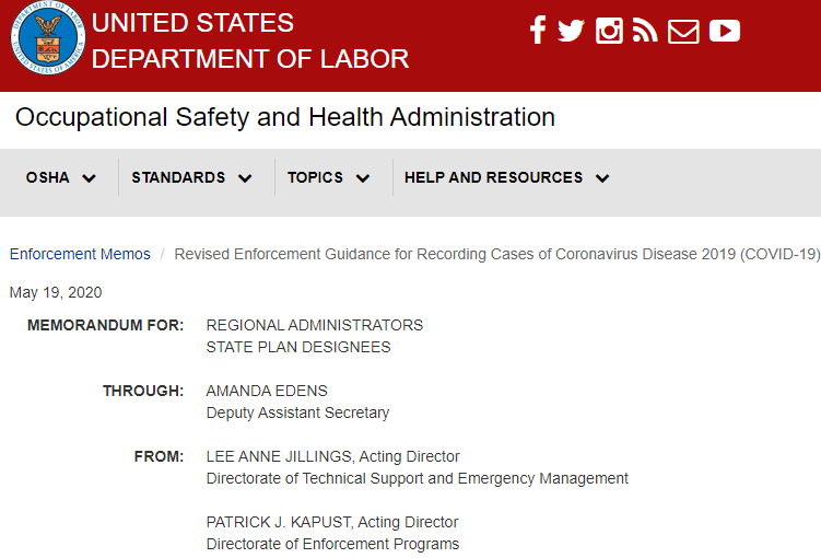 OSHA Revises Enforcement Guidance for Recording Cases of COVID-19