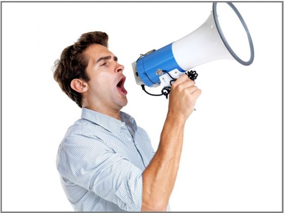 Man with electronic bullhorn