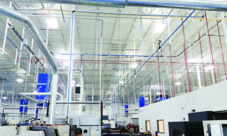 Because Transair's quick connections eliminate the need to thread, solder, or glue pipe, Mechanical Solutions could assemble parts for SKF's new compressed air system in the shop, saving installation time on site.