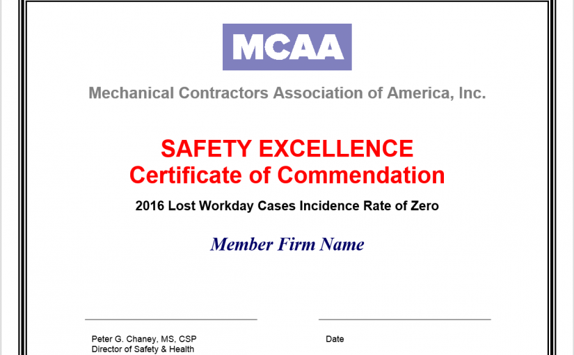 MCAA Safety Excellence Certificates of Commendation