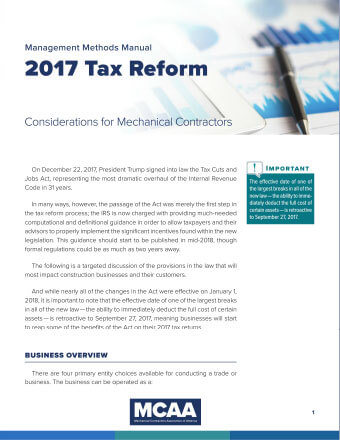 2017 Tax Reform: Considerations for Mechanical Contractors