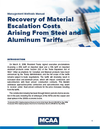 Recovery of Material Escalation Costs Arising From Steel and Aluminum Tariffs