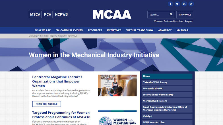 Women in the Mechanical Industry Web Page