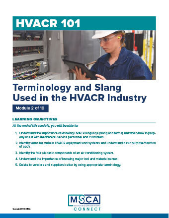 HVACR 101 Workbook Module 2 – Terminology and Slang Used in the HVACR Industry