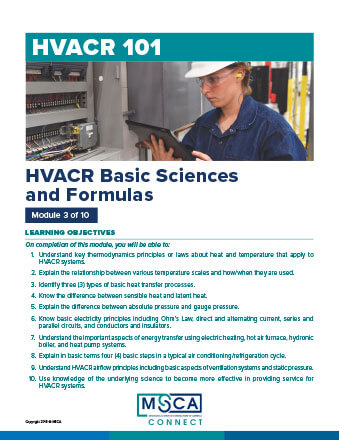 HVACR 101 Workbook Module 3 – HVACR Basic Sciences and Formulas