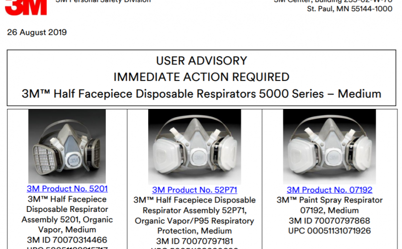 """3M Issues """"STOP USE"""" on Certain 5000 Series Respirators"""
