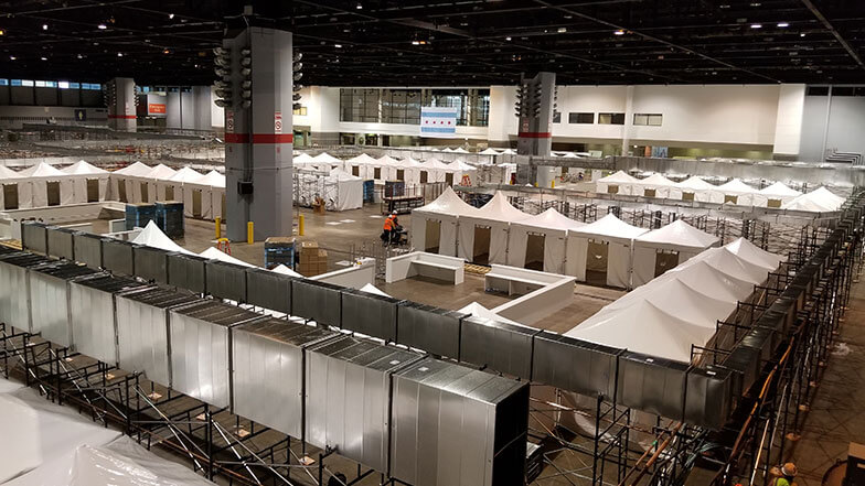 Contractors, Suppliers Team Up with FEMA, Army Corps to Transform Chicago Convention Center into COVID-19 Field Hospital